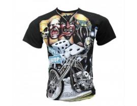 Tricou negru pentru barbati Craniu si Motociclist