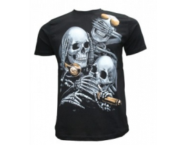 Tricou barbati,negru 3 skull
