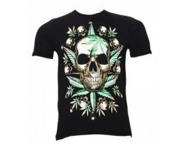 Tricou barbati,negru,Skull Marijuana