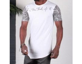 Tricou alb, urban asimetric slim fit