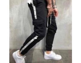 Pantaloni barbati negri, cargo cu banda laterala