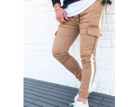Pantaloni barbati crem  , cargo cu banda laterala