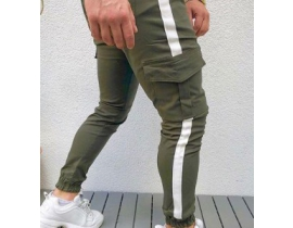 Pantaloni barbati kaki , cargo cu banda laterala