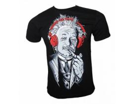 Tricou barbati,negru,Einstein cu casti
