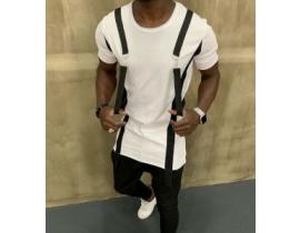 Tricou alb,asimetric cu bretele aplicate