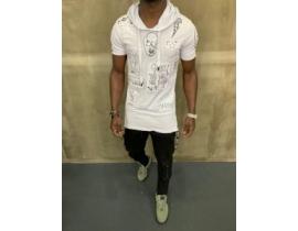 Tricou alb,asimetric cu broderie aplicata si gluga