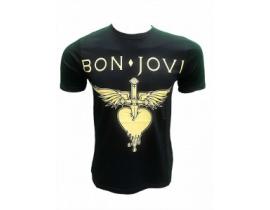 Tricou Bon Jovi logo auriu