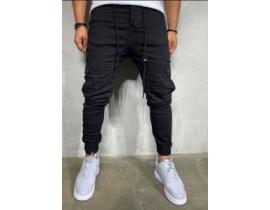 Pantaloni denim cargo negru