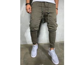 Pantaloni denim cargo gri
