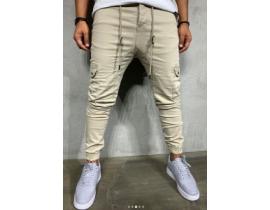 Pantaloni denim cargo crem