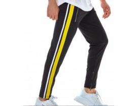 Pantaloni barbati de trening,negri cu dunga galbena