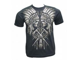 Tricou negru barbati 2 Indieni Skull