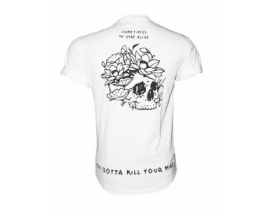 Tricou alb barbati mesaj,Somet times to stay alive you gotta kill your mind