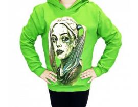 Hanorac copii Harley Quinn verde