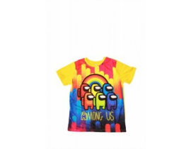 Tricou copii Among us 3D maneci galbene