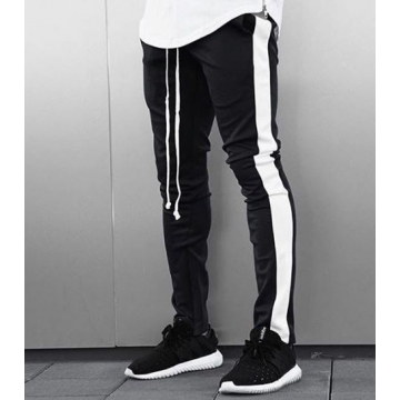 Pantaloni barbati de trening,negri cu dunga alba